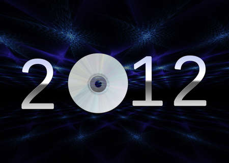A modern illustration showing a silver chrome 2012 with a cd on a dark background Stock Photo