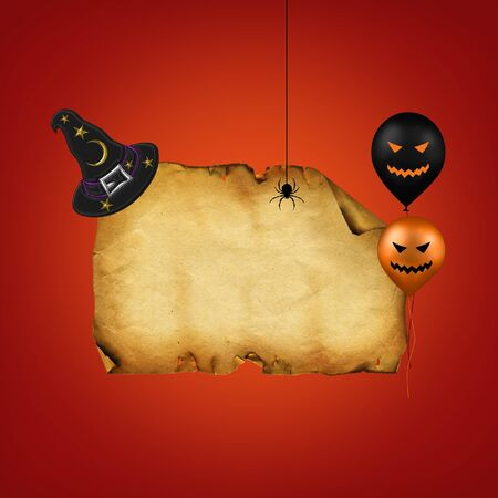 A Halloween Illustration with an old paper, witch hat, a spider and 2 jack-o-lantern balloons on a red background