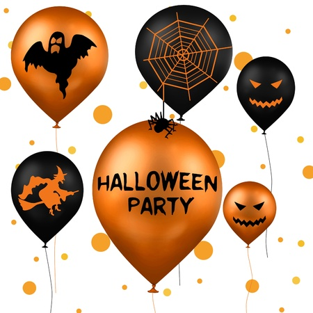 A Halloween Illustration with party balloons in black and orange with a ghost, a witch, a spider and spider web and jack-o-lantern on a white background with orange dots