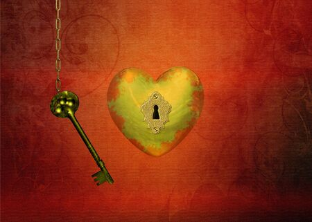 golden heart: A golden heart with a keyhole and a chain with a key on a structured red background  This is the key to your heart  Stock Photo