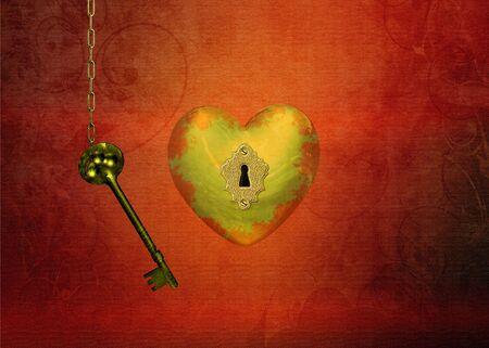 structured: Un coraz�n de oro con un ojo de la cerradura y una cadena con una llave sobre un fondo rojo estructurada Esta es la llave de tu coraz�n