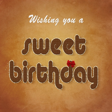 A chocolate birthday greeting with a red bow on a grunge background