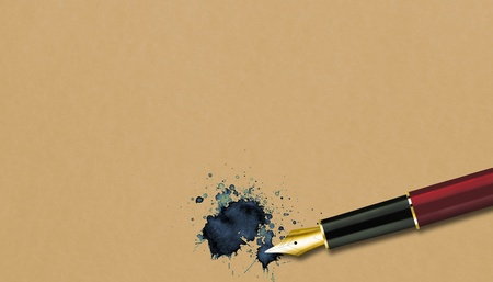 An old paper with a fountain pen and an ink blot Stock Photo - 12927010