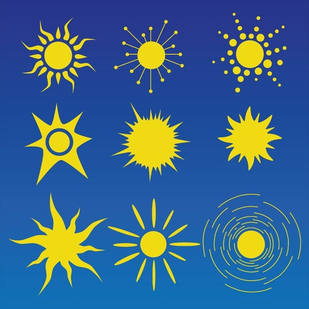 Abstract vector sun shapes illustrations