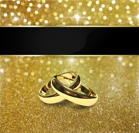 Elegant and luxurious gold design illustration  2 golden wedding rings on a gold glitter and bokeh background with sparkling  bright stars  Stock Photo