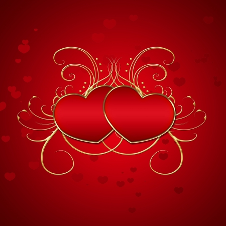 Elegant Red Hearts Illustration Stock Photo
