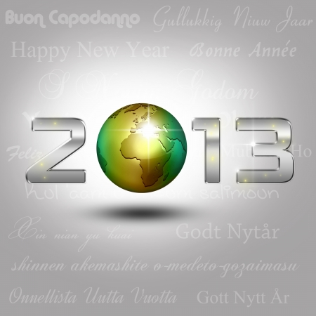 New Year Illustration  A golden globe with shiny silver number 2013 on a light grey background with New Year greetings in different languages  illustration