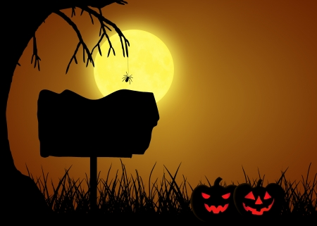 A silhouette Halloween illustration  Scary black landscape with a tree and a spider in front of the full moon, a sign and two halloween pumpkins  Stock Photo