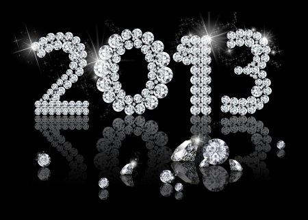 Brilliant New Year 2013 is a diamond jewelry illustration on a black background
