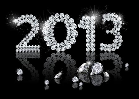 bijoux diamant: Brilliant Nouvel An 2013 est une illustration de bijoux en diamants sur un fond noir