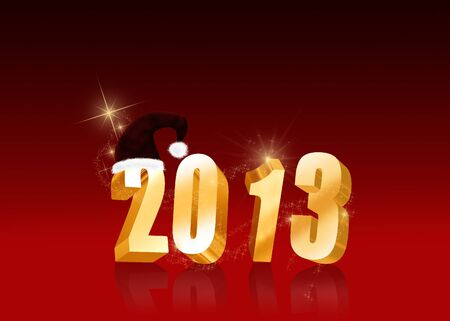 Christmas and New Year Illustration  Golden letters 2013 with a Santa hat on a red background