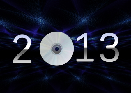 A modern New Year illustration showing a silver chrome 2013 with a cd on a dark background