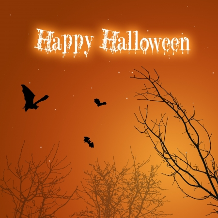 A silhouette Halloween illustration  Spooky black bats and creepy trees with a drippy  Happy Halloween  Greeting on a mystic background  Stock Illustration - 15140510