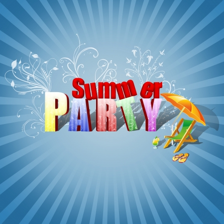 Summer Party Illustration  Colourful 3D Text, decorated with floral ornaments, a beach lounger, a cocktail and flip-flops on a blue sunburst background