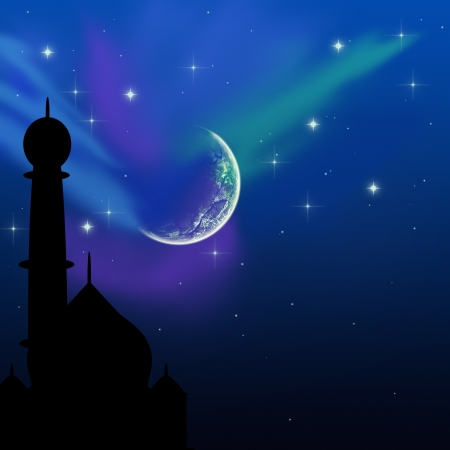 Magical Eid Night  Eid illustration with a magical evening sky scene  silhouette of a mosque on a blue night sky with shiny stars and moon Stock Illustration - 15178724