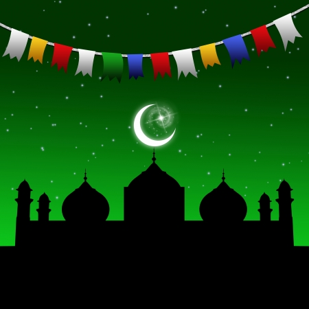 evening glow: Eid illustration with a festive and colorful garland in a magic night scene with a mosque silhouette and the moon and stars on a green night sky   Stock Photo