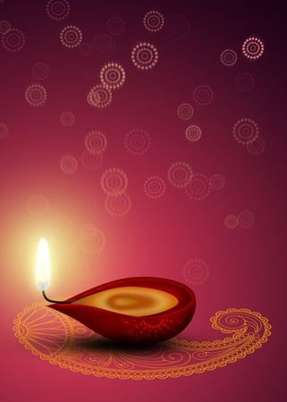Happy Diwali Illustration  red diya  a cup-shaped indian oil lamp  with an indian ornamental mandala and a paisley on a beautiful bokeh background