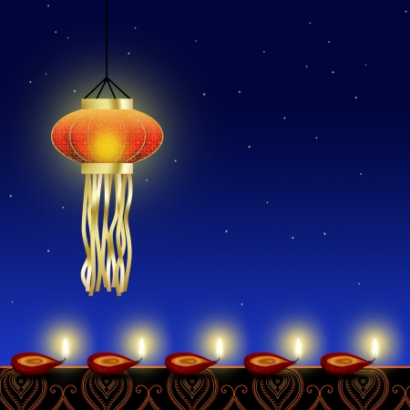 Happy Diwali Illustration  A shiny Diwali lamp with red diyas  cup-shaped indian oil lamps  with an ornamental border on a night sky background