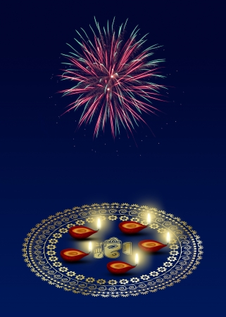 Happy Diwali Illustration  A golden mandala with Ganesha Rangoli and 5 diyas on a dark blue background with fireworks