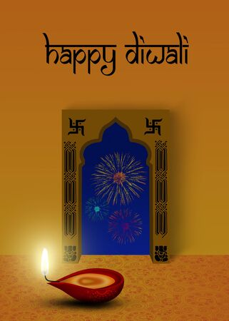 Happy Diwali Illustration  red diya  a cup-shaped indian oil lamp  in front of an indian ornamental window with fireworks outside  illustration