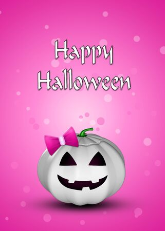 Halloween illustration  a white pumpkin with a pink bow on a pink background with bokeh