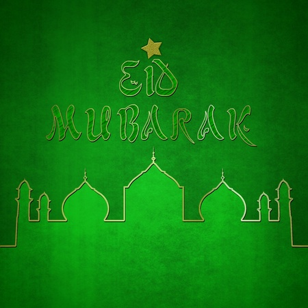 Elegant Eid Greeting illustration  Eid Mubarak greeting with a mosque silhouette in green and gold  illustration