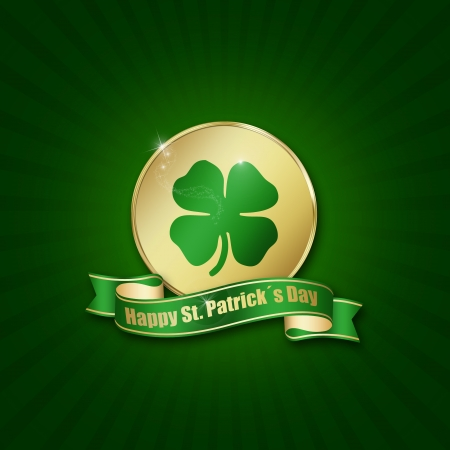 St  Patrick´s Day illustration  A golden coin with a shamrock and ribbon on a green background  Stock Photo