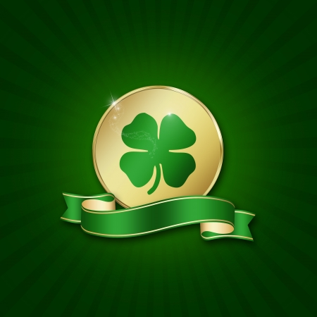 St  Patrick�s Day illustration  A golden coin with a shamrock and a blank ribbon on a green background  Stock Photo