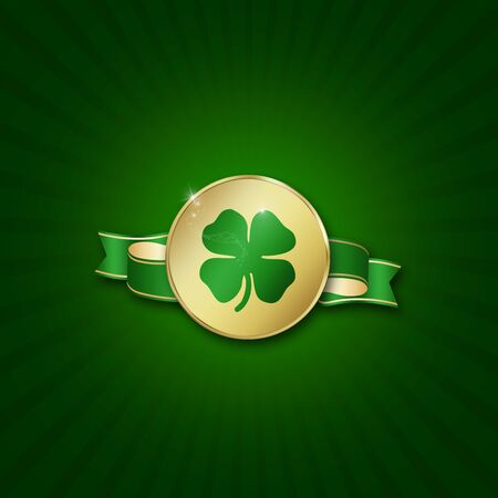 St  Patrick´s Day illustration  A golden coin with a shamrock on a ribbon on a green background  Stock Photo
