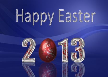 A glamourous Easter illustration  Silver  Happy Easter 2013  lettering with a red metalic style easter egg with silver swirls on an elegant blue background
