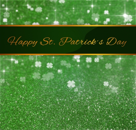 Elegant and luxurious St  Patrick�s Day illustration  Ribbon with greeting on a green glitter and clover bokeh background with sparkling bright stars  Stock Photo