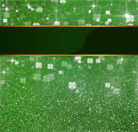 Elegant and luxurious St  Patrick´s Day illustration  Blank Ribbon on a green glitter and clover bokeh background with sparkling bright stars