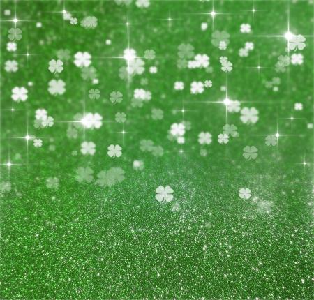 Elegant and shiny St  Patrick´s Day illustration  Green glitter and clover bokeh background with sparkling bright stars  Stock Photo
