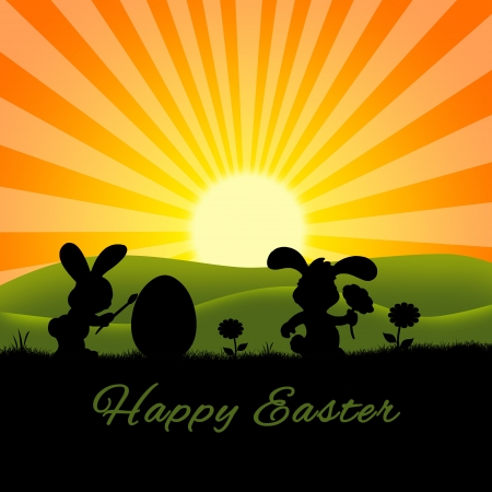 Sunny Easter Illustration  2 cute silhouette rabbits with an egg and flowers on a nature background