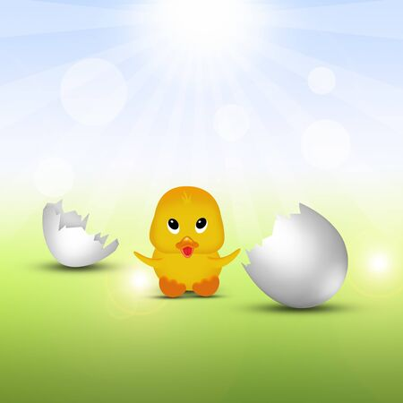 eggshells: Cute Easter illustration  little chick sitting next to broken eggshells  Stock Photo
