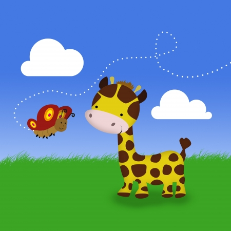 A cute cartoon giraffe and a butterfly standing on green grass in front of the blue sky with clouds  photo