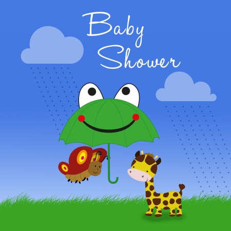 A cute clipart illustration  a giraffe and a butterfly under a frog umbrella in a rainy cartoon scene  illustration