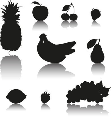 Set of 9 Silhouette vector fruits with shadow  Pineapple, apple, cherry, strawberry, banana, pear, lemon, raspberry and grapes  Illustration