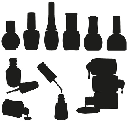 nail varnish: Set of 10 vector nail polish bottles silhouettes
