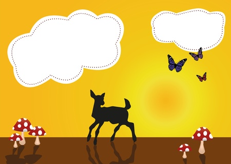A cute vector illustration with a little deer, butterflies and mushrooms  Vector