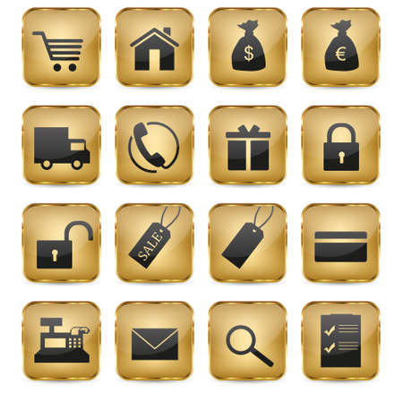 16 elegant golden eShop icons  Vector