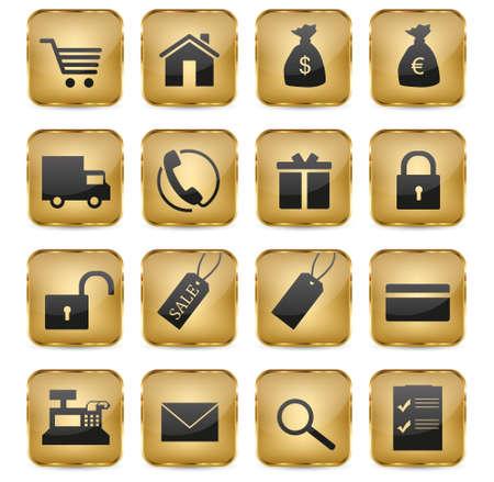 eshop: 16 elegant golden eShop icons