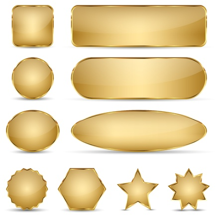 rectangle button: Set of 10 elegant golden buttons with different shapes