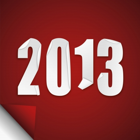 turns of the year: 2013 abstract folded white paper illustration on a red background
