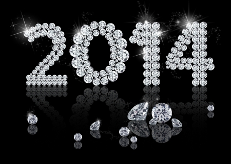 Brilliant New Year 2014 is a diamond jewelry illustration on a black background
