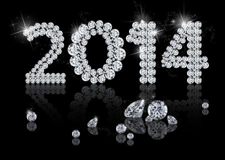 bijoux diamant: Brilliant Nouvelle Ann�e 2014 est une illustration de bijoux de diamant sur un fond noir