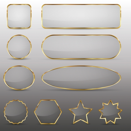 Set of 10 elegant glass buttons with gold frame in different shapes