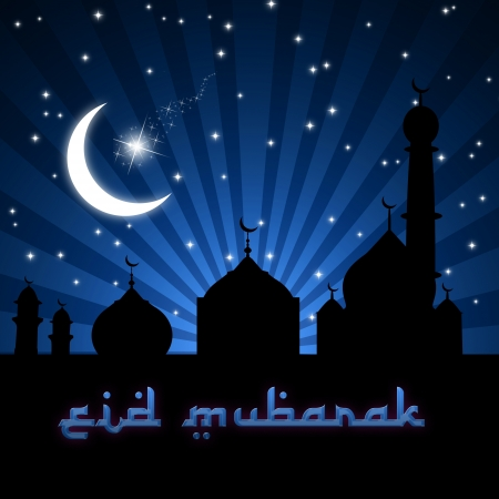 Eid Greeting illustration with silhouettes of the moon, stars and a mosque on a blue night sky. Stock Photo