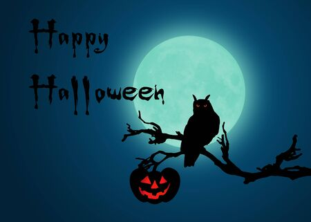 Halloween Night with owl and pumpkin at a branch in front of the full moon