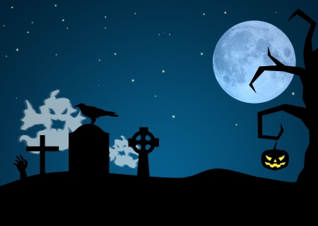 Halloween Night illustration  Ghosts in a graveyard, crow on a gravestone and a pumpkin is hanging at a tree  illustration